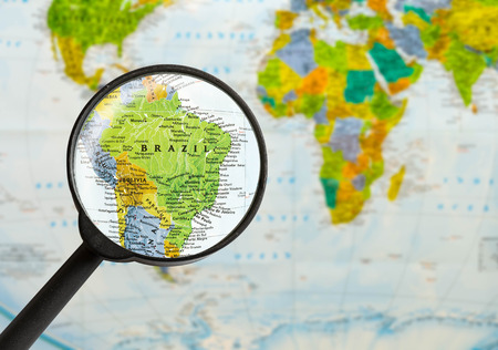 Photo for map of Federative Republic of Brazil through magnifying glass - Royalty Free Image