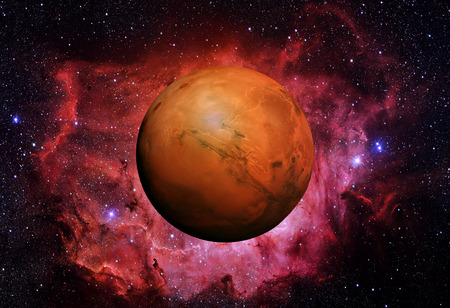 Photo pour Solar System - Mars. It is the fourth planet from the Sun. Mars is a terrestrial planet with a thin atmosphere, having craters, volcanoes, valleys, deserts. - image libre de droit