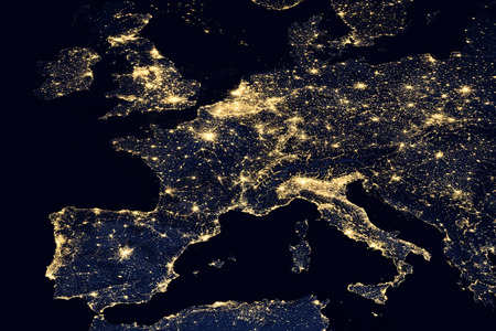 Photo pour City lights on world map. Europe. Elements of this image are furnished by NASA - image libre de droit