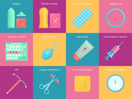 Illustration pour Contraception methods cartoon icons set with calendar injection and oral contraception symbols. Birth control vector illustration. - image libre de droit