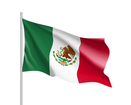 Illustration pour Waving flag of Mexico. Illustration of North America country flag on flagpole. 3d vector icon isolated on white background - image libre de droit