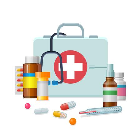 Illustration pour First aid kit medicine cartoon style isolated - image libre de droit