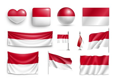 Illustration pour Set Indonesia flags, banners, banners, symbols, flat icon. Vector illustration of collection of national symbols on various objects and state signs - image libre de droit