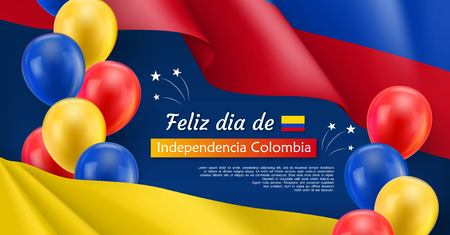 Illustration pour Happy Independence day festive banner. Colombian national holiday celebrated 20th of July. Patriotic vector concept with realistic waving colombian flag and colorful helium balloons on blue background - image libre de droit