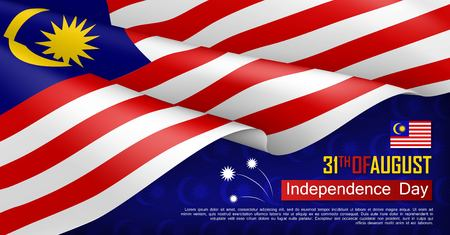 Illustration pour Malaysian Independence day horizontal web banner. Patriotic background with realistic waving malaysian flag. National traditional holiday vector illustration. Malaysia republic day celebrating - image libre de droit