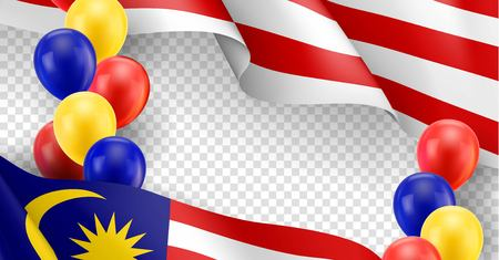Illustration pour Malaysian patriotic template with copy space. Realistic waving malaysian flag and colorful helium balloons on transparent background. Independence and freedom, democracy and patriotism vector banner - image libre de droit