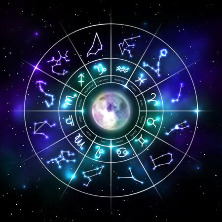 Ilustración de Zodiac circle with astrology symbols in neon style - Imagen libre de derechos
