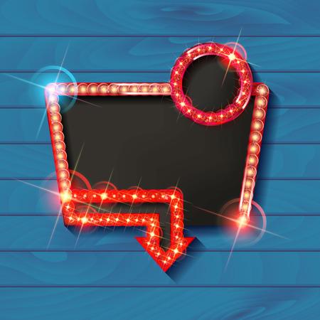 Illustration pour Retro light frame. Big sale. Sale and discount, business banner. Vector illustration - image libre de droit