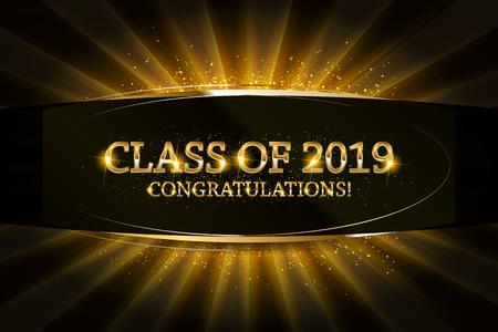 Illustration pour Class of 2019 Congratulations Graduates gold text with golden ribbons on dark background. - image libre de droit