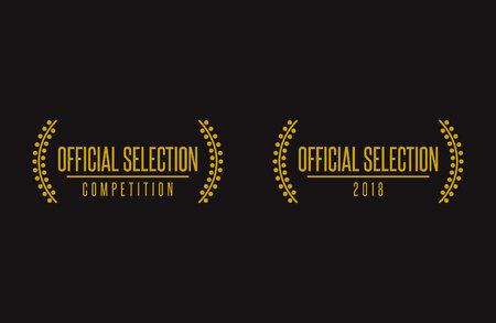 Illustration pour Official selection best movie nomination prize winner on film festival 2018 nomination winner black gold vector icon set - image libre de droit