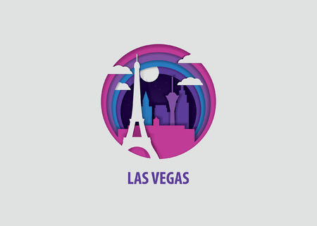 Illustration for Creative paper cut layer craft Las Vegas vector illustration. Origami style city skyline travel art in depth illusion - Royalty Free Image