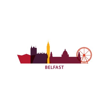 Illustration pour UK Great Britain Belfast city skyline landscape silhouette vector logo icon. Cool urban horizon illustration concept - image libre de droit