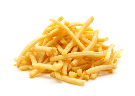 Photo pour a pile of appetizing french fries on a white background - image libre de droit