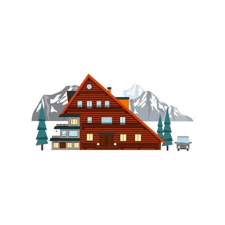 Ilustración de Wooden house hotel in the mountains. Vector - Imagen libre de derechos