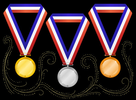 Medals on black background. Vector