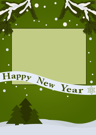 Illustration pour Happy new year card. Empty frame on a green background with snow and fir trees - image libre de droit