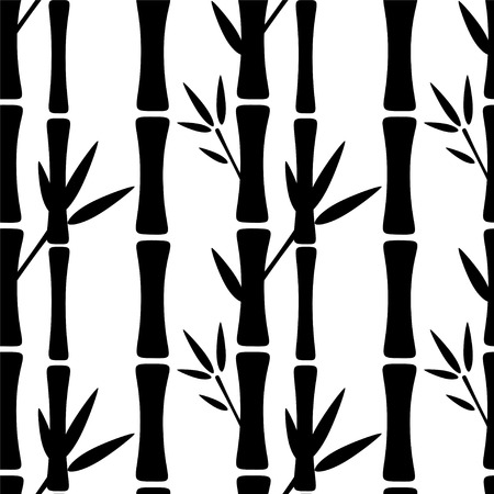 Illustration pour Seamless pattern with black silhouettes bamboo trees and leaves on a white background. Endless print texture. Forest - vector - image libre de droit