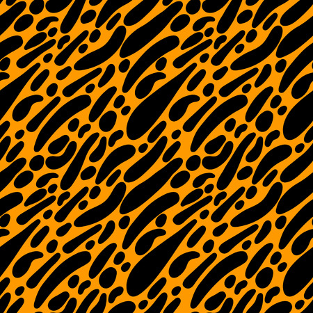 Abstract print animal seamless pattern in black and gold. Leopard cartoon skin. Repeating background texture. Fabric design. Wallpaper - vector