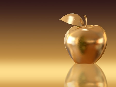 Photo pour Golden apple on golden background. A high resolution 3D render. - image libre de droit