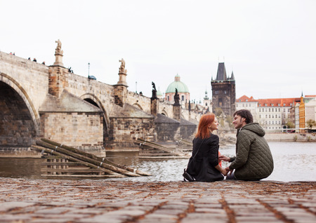 Photo for Young couple in love. Prague, Czech Republic - Royalty Free Image