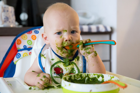 Foto per Feeding. Adorable baby child eating with a spoon in high chair. Baby's first solid food - Immagine Royalty Free
