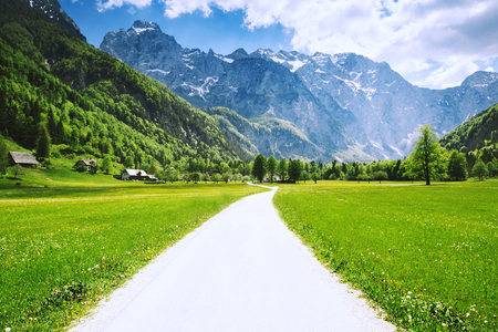 Foto de Logar valley or Logarska dolina, Slovenia, Europe. Travel, Inspiration, Freedom, Healthy Lifestyles background - Imagen libre de derechos