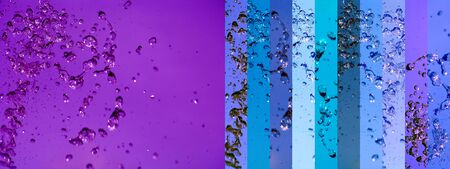 Purple and blue background with water splash movement in banners