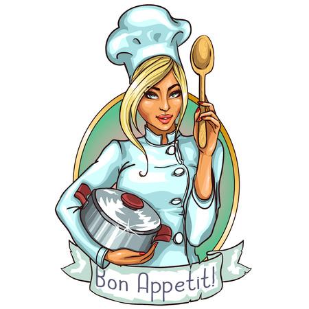 Ilustración de Pretty Chef with pot and spoon - Imagen libre de derechos
