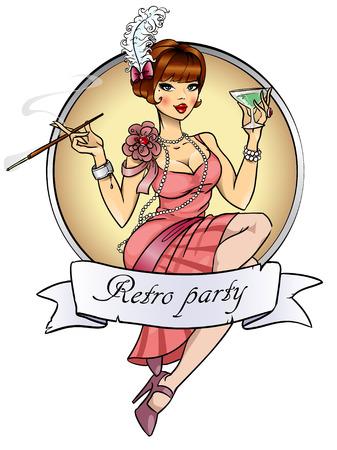 Photo pour Retro Party label isolated on white - image libre de droit