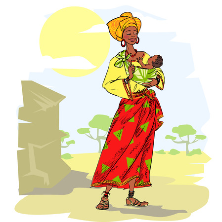 Illustration pour African woman with baby - image libre de droit