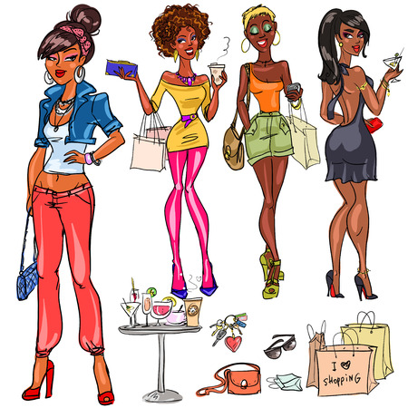 Illustration pour Pretty fashionable women - image libre de droit