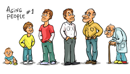 Ilustración de Aging people - set 1, Men at different age. Hand drawn cartoon men, family members isolated, sketch - Imagen libre de derechos