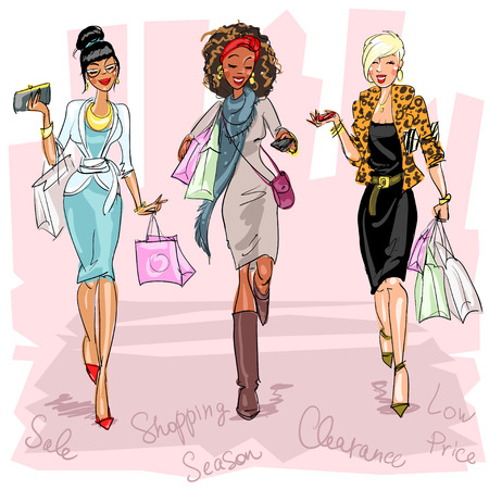 Illustration for Pretty fashionable women - Royalty Free Image