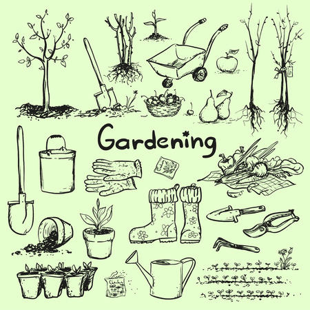 Illustration pour Hand drawn garden tools. - image libre de droit