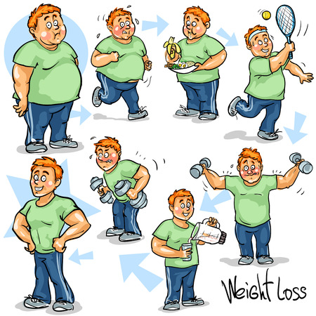 Illustration pour Man achieving his Weight-Loss goal. - image libre de droit