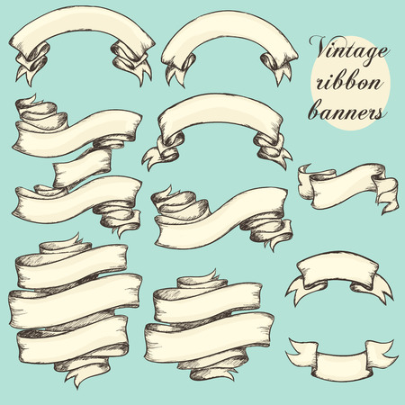 Illustration pour Vintage ribbon banners, hand drawn collection, set - image libre de droit