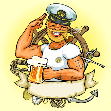 Illustration pour Sailor label design, Illustration with ribbon banner and space for text - image libre de droit