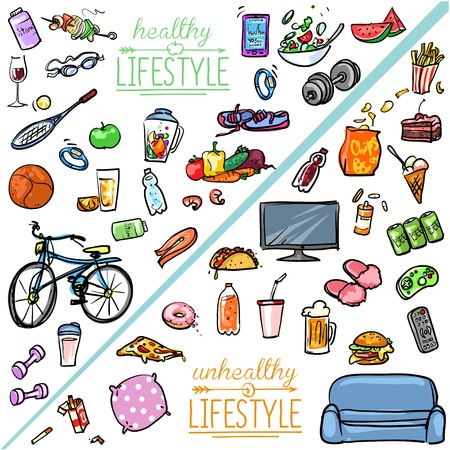 Photo pour Healthy Lifestyle vs Unhealthy Lifestyle. Hand drawn cartoon collection - image libre de droit