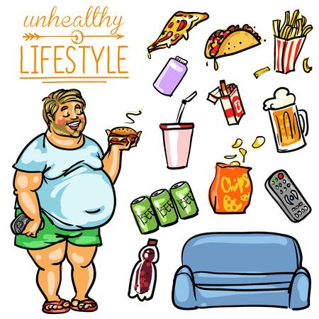 Ilustración de Unhealthy Lifestyle. Hand drawn cartoon collection, clip-art - Imagen libre de derechos
