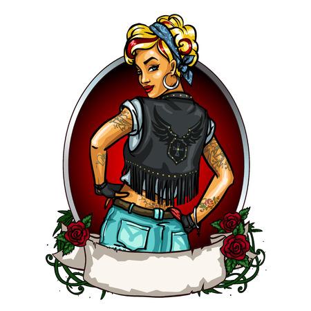 Ilustración de Pretty Pin up girl label with ribbon banner isolated - Imagen libre de derechos