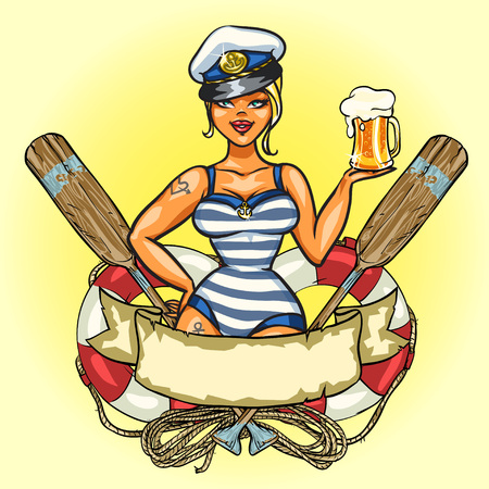 Illustration pour Label with Pin Up Sailor Girl and ribbon design - image libre de droit
