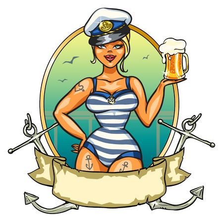 Illustration for Label with Pin Up Sailor Girl and ribbon design - Royalty Free Image