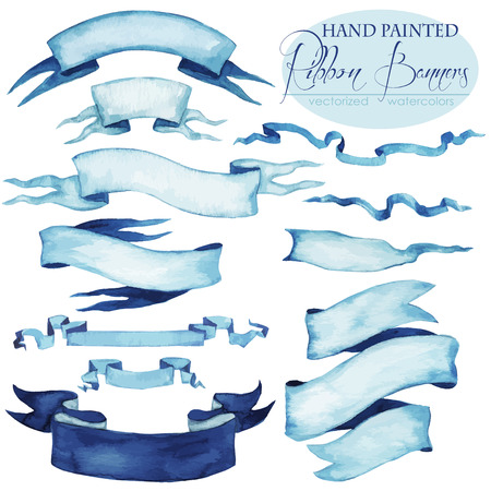Illustration pour Set of hand painted Ribbon Banners - vectorized watercolors. - image libre de droit