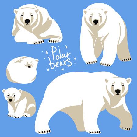 Illustration pour Polar Bears collection. Clip art isolated on blue - image libre de droit