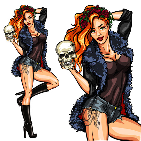 Ilustración de Pretty witch holding a skull. Halloween Pin Up, isolated. - Imagen libre de derechos