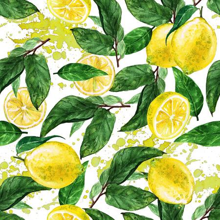 Photo for Watercolor seamless pattern - Lemon - Royalty Free Image