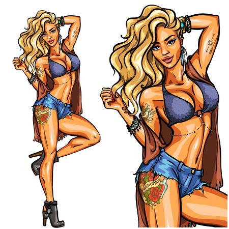 Ilustración de Party girl in bikini isolated on white. - Imagen libre de derechos