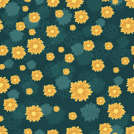 Illustration for Seamless pattern with orange daisy flowers on blue background - Royalty Free Image