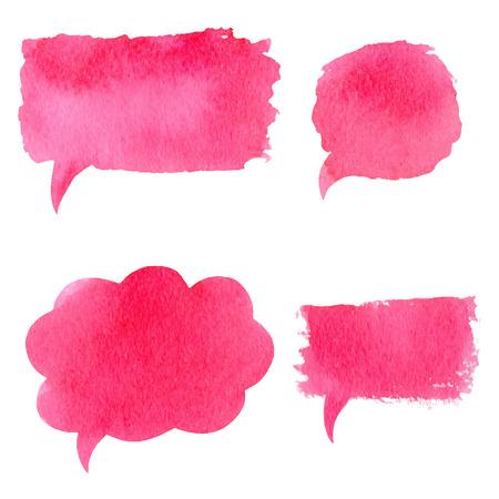 Illustration pour Vector collection of pink watercolor speech bubbles, rectangles, shapes on white background. Hand drawn paint stains set. - image libre de droit