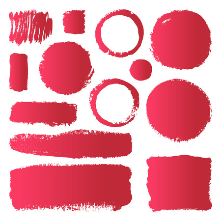 Illustration pour Hand drawn abstract make up paint brush strokes. Vector set collection of red gradient smears paint isolated on white background. - image libre de droit
